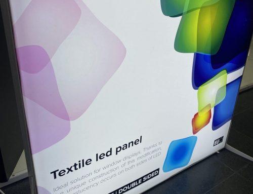 Lumaire LED skylt med textilduk Euroshop
